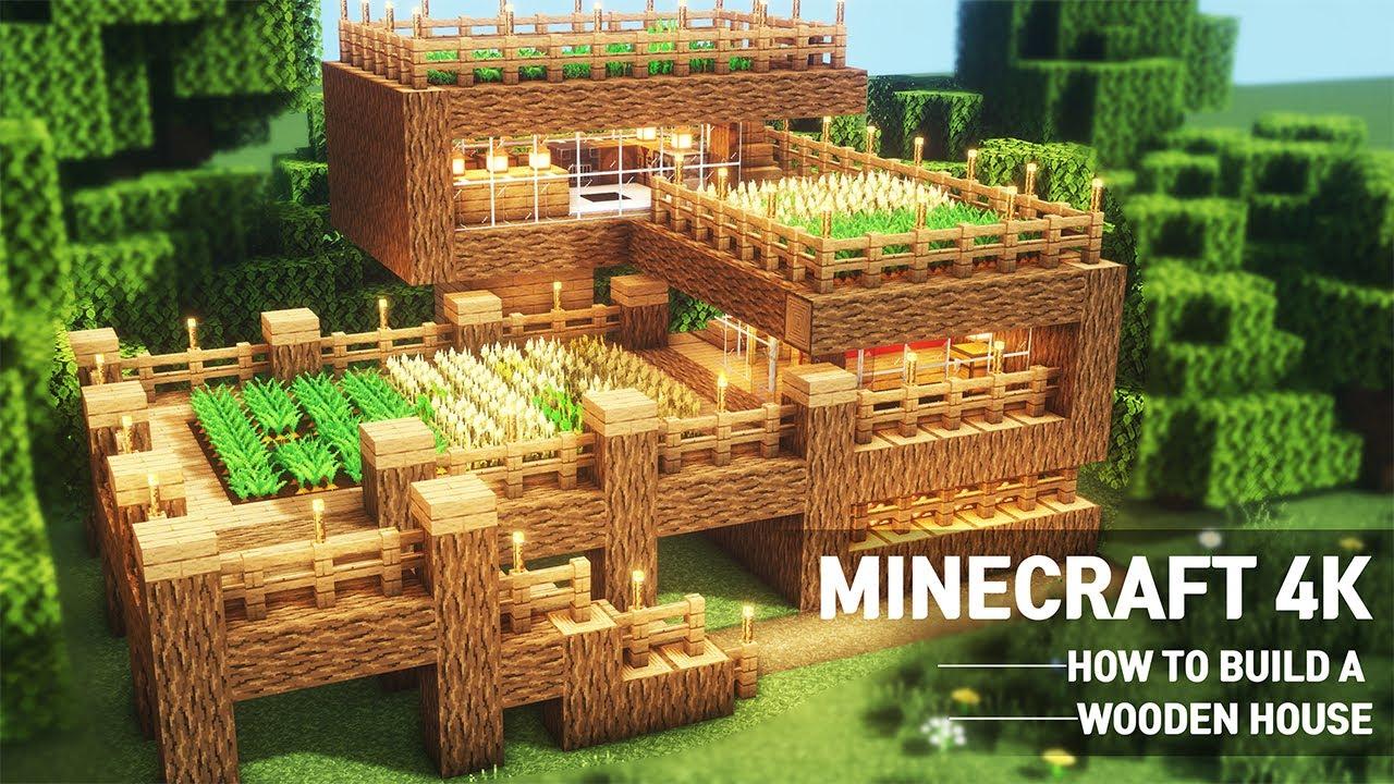 [8K] Minecraft : Wooden House Tutorial|How to Build in Minecraft (#8)
