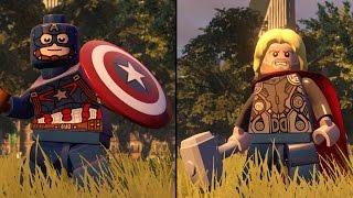 LEGO Marvel's Avengers - Captain America vs Thor - CoOp Fight | Free Roam Gameplay (PC HD) [1080p]