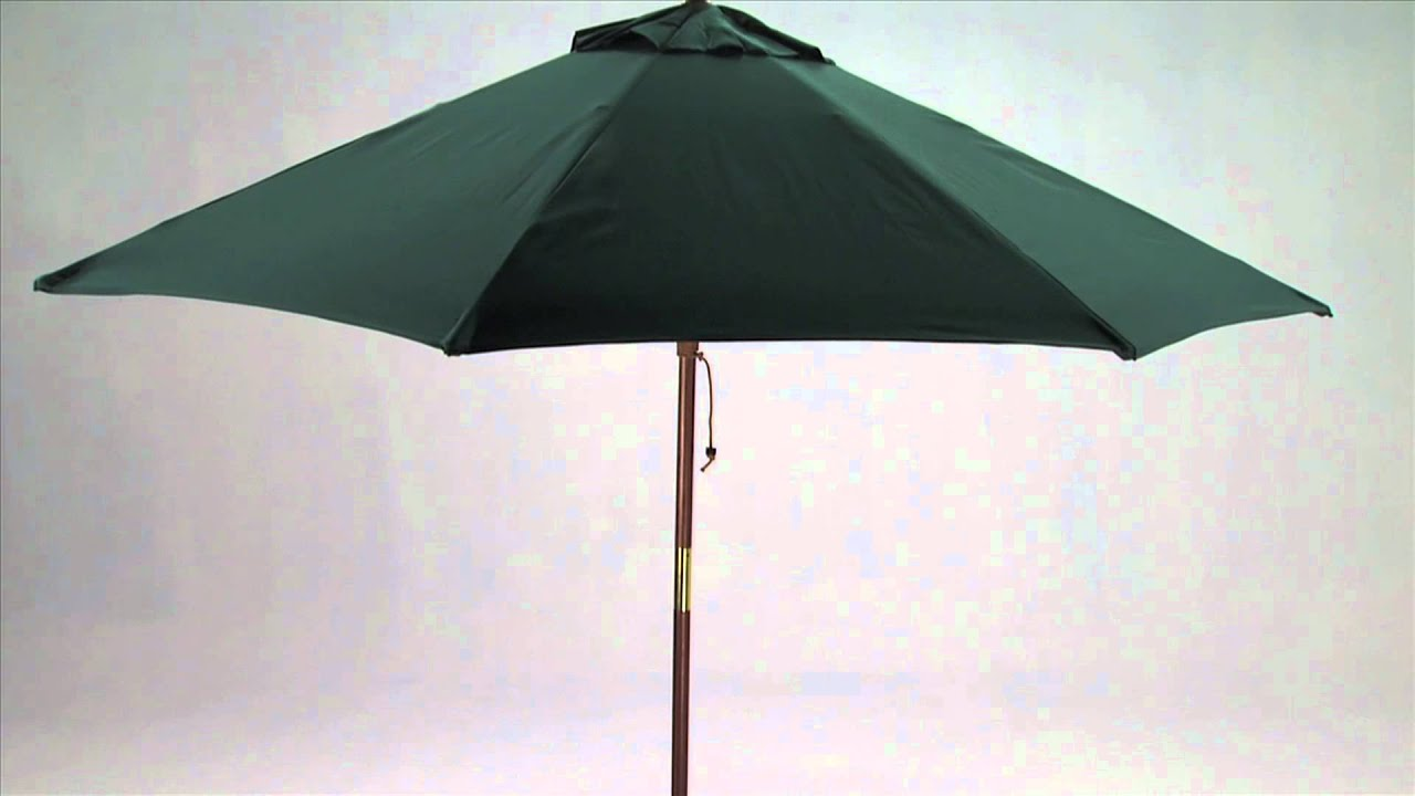 9 Foot Wooden Market Patio Umbrella With Tilt