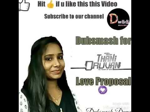 Tamil Girl Cute Dubsmash for Thani Oruvan L💝ve Proposal Scene | Dubsmash Deepa