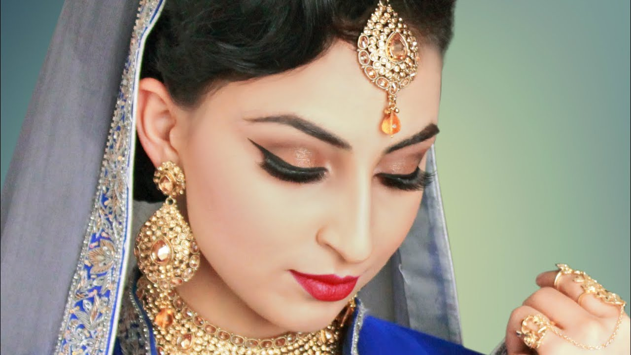 Subtle Gold Indian / Pakistani Bridal Makeup - YouTube
