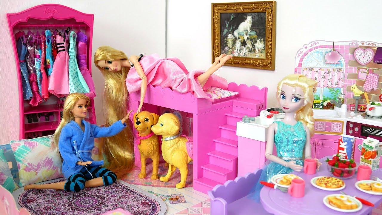 Barbie Elsa Rapunzel Morning Routine At Barbie Japanese House بيت باربي Barbie Boneca Casa