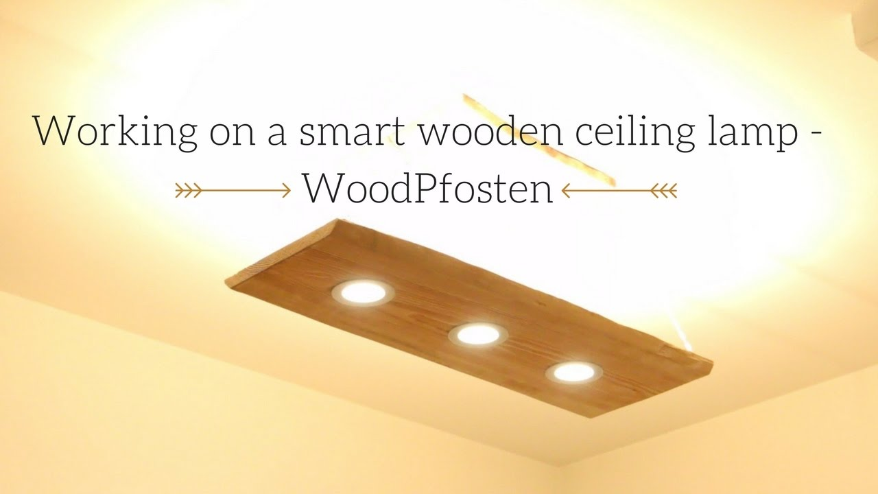 how we build a smart ceiling lamp with dual light out of wood