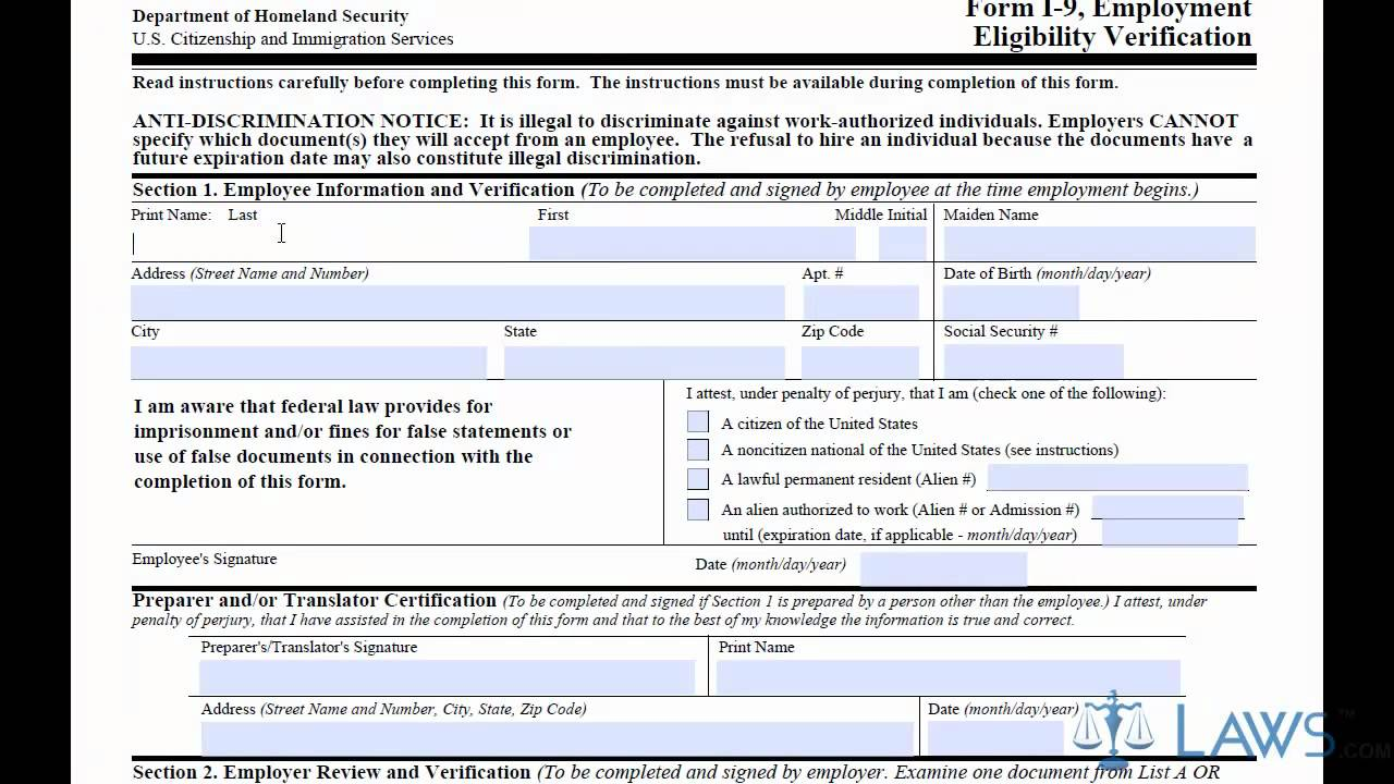 Learn How to Fill the I-9 Form - YouTube
