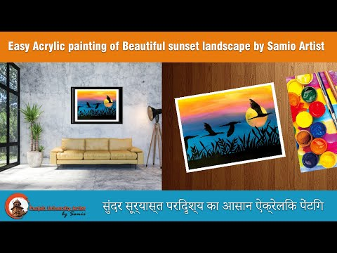 Acrylic Painting for Canvas | Beautiful sunset landscape for beginners#stayhome and paint #withme