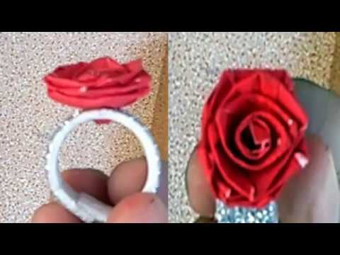 How to make Paper Flowers Ring | Ring Rose
