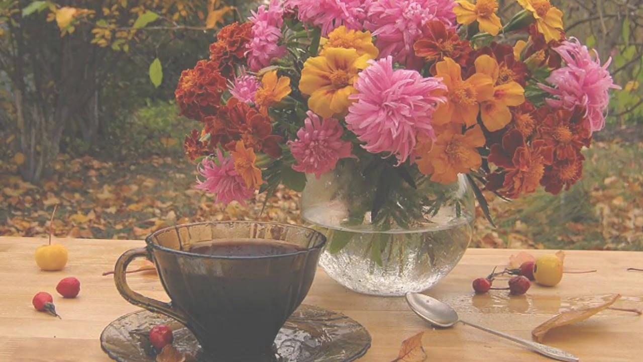 открытки с осенними цветами с добрым утром игры шаблоны