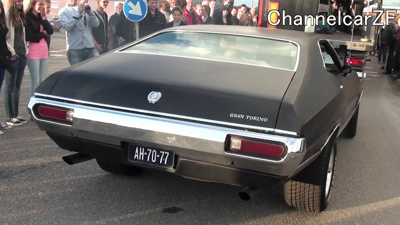 matt black ford gran torino burning rubber 1080p hd youtube - Ford Gran Torino Fastback