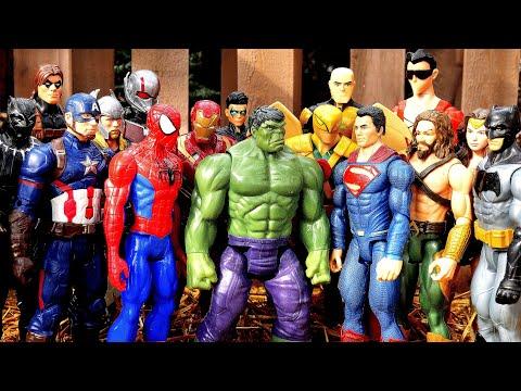 Superman vs Thor vs Batman vs Spiderman vs Hulk vs Iron Man vs Aquaman - Marvel vs DC Fight!