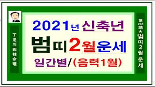 2021년 범띠 2월 운세-정시의 사주명리243강-2021년 신축년 범띠 2월운세입니다.