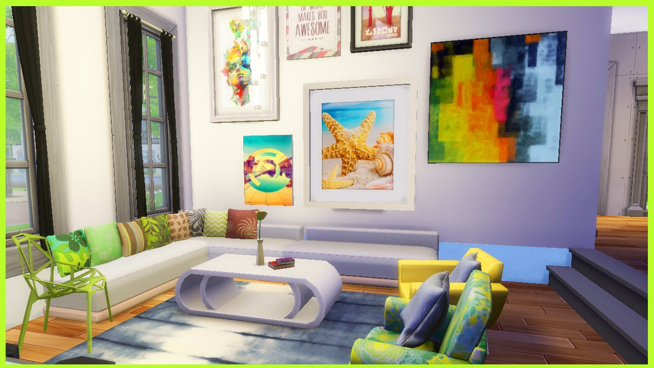 The Sims 4 Artsy Livingroom Cc Youtube