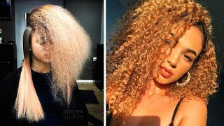 10 Amazing Curly to Straight Hair Transformation Tutorials Compilations