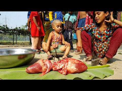 Two Buffalo Heart Gravy Cooking – Kids Picnic By 4-10 Years Old Village Children