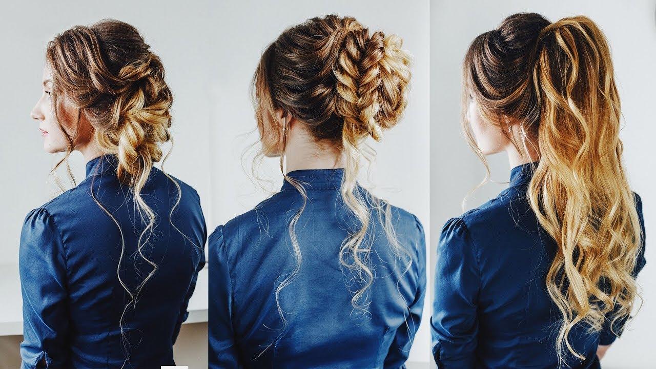 3 easy hairstyles: prom hair half up ponytail braided bun loose side bun kuklalu compilation
