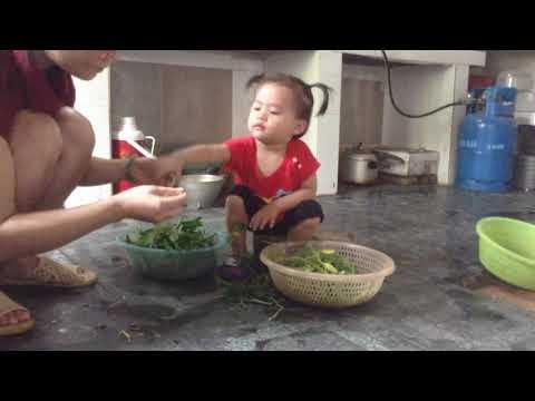 Thế Giới Trẻ Thơ - bé làm người lớn - Giúp mẹ nhặt rau