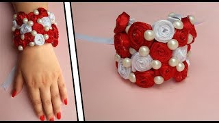 Rose Ribbon Bracelet || DIY Bangles || Ribbon And Pearl Accessories || The Blue Sea Art