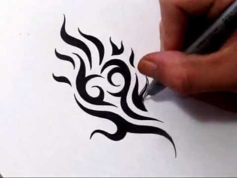 drawing tribal heart and flames cool tattoo design youtube. Black Bedroom Furniture Sets. Home Design Ideas