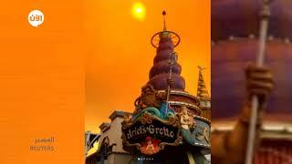 الحرائق المدمرة في #كاليفورنيا تحيل سماء ديزني لاند إلى اللون البرتقالي