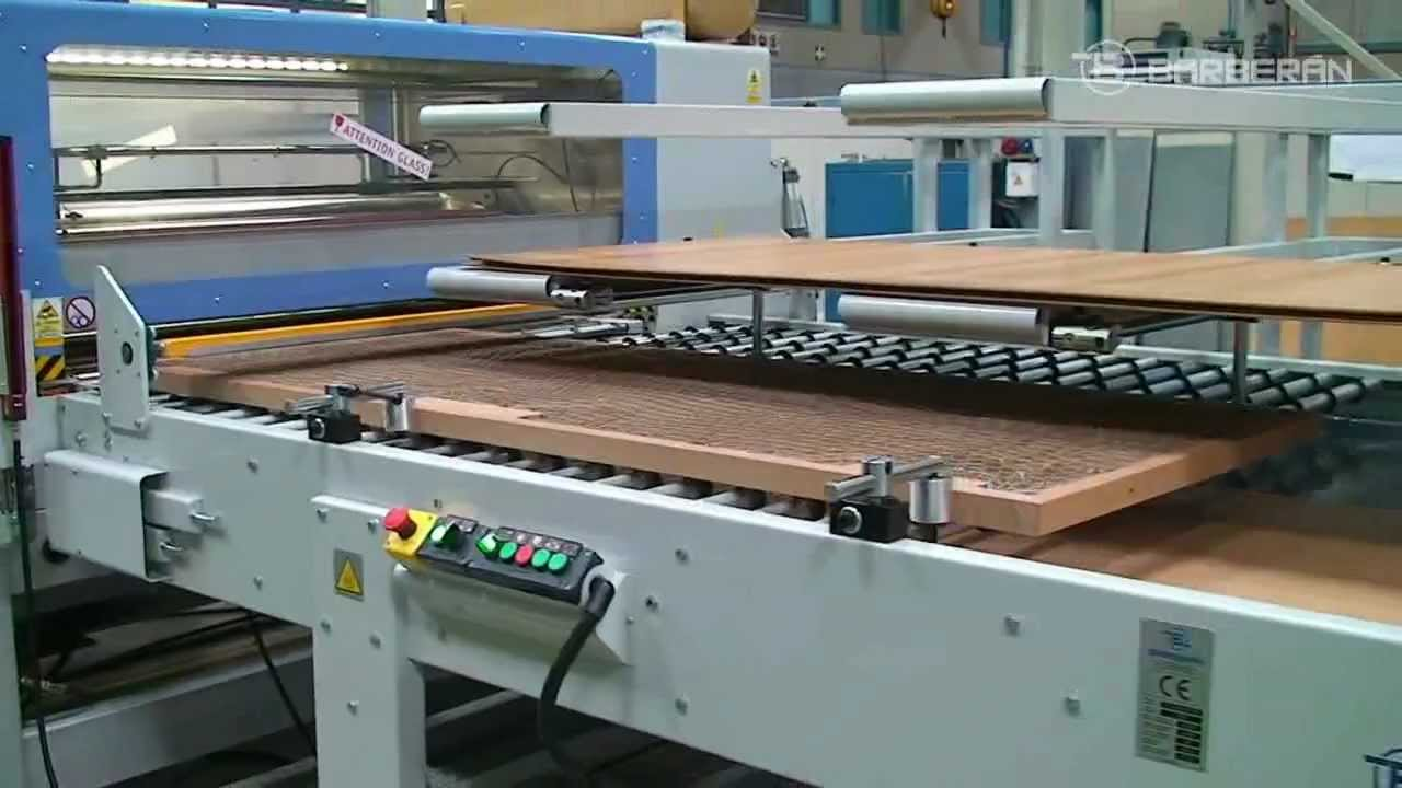 & BARBERAN 106 Gluing and indexing line for honeycomb doors - YouTube