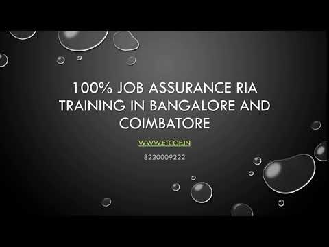 100% Job Assurance RIA Training in Bangalore and Coimbatore-www.etcoe.in
