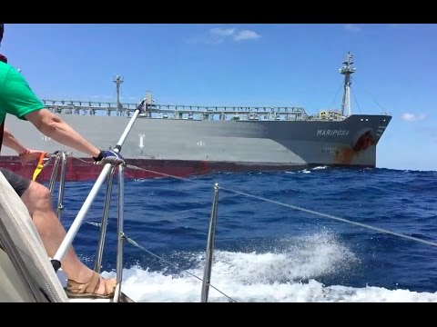 Sailboat refuelled by 600 foot Russian Oil Tanker 235 miles offshore on the Atlantic.