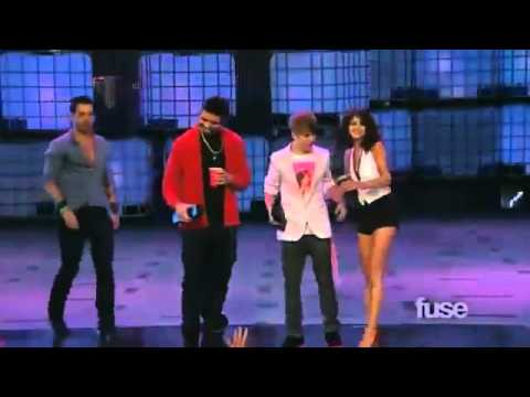 Justin Bieber flirting with Selena Gomez at MMVA's+JB and Drake tie at an AWARD