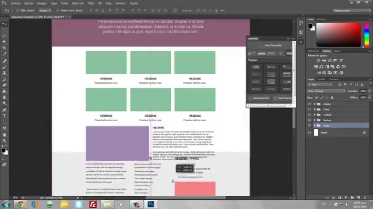 Como crear una plantilla para tu web en photoshop - YouTube