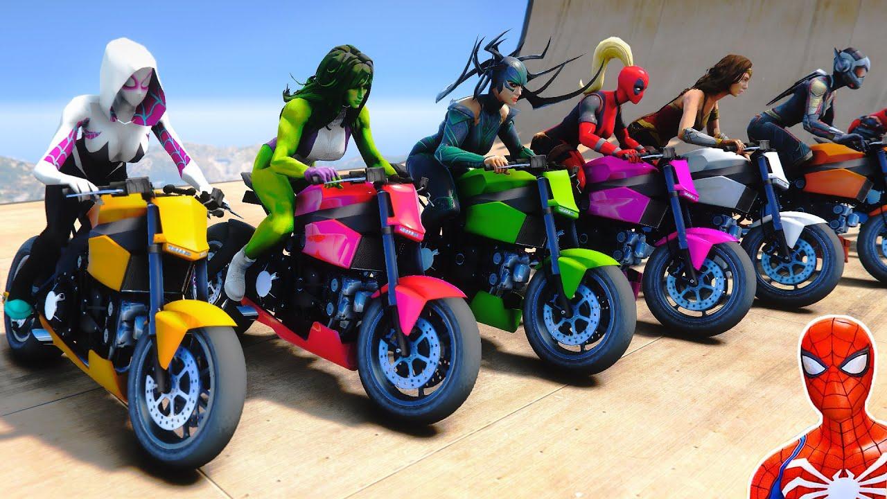 Superheroes Girls Motorcycels Challenge Spider Man She-Hulk Wonder Woman Wasp Captain Marvel Gamora