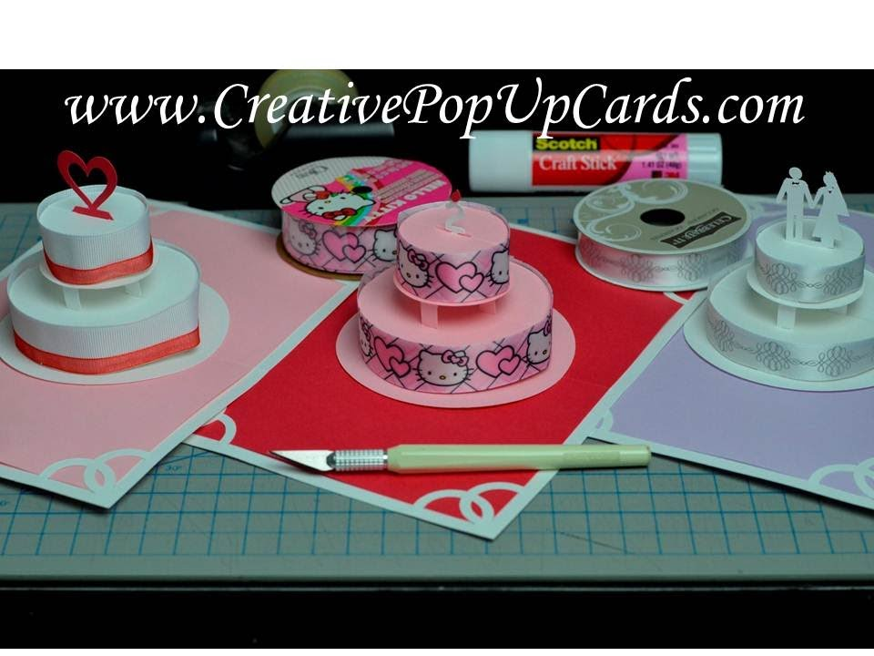 Birthday Cake Outline Printable ~ How to make a birthday cake or wedding cake pop up card tutorial
