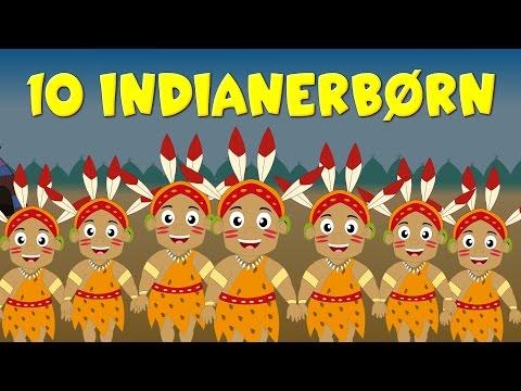 10 indianerbørn | 40 minutter af danske børn sange | Ten Little Indians in Danish