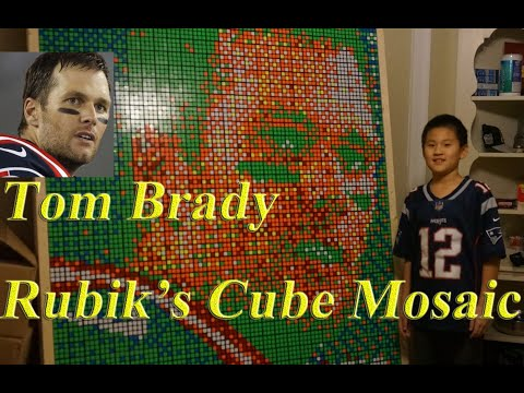 9-year-old boy makes amazing portrait of Tom Brady out of Rubik's cubes