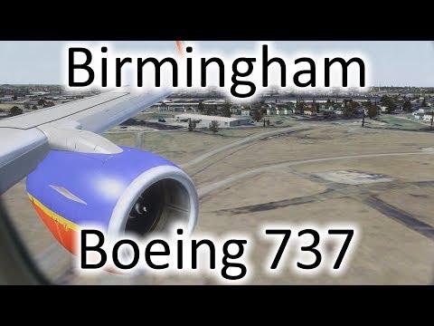 FSX | Southwest 737 Landing At Birmingham (AL) Int'l Airport (KBHM) (Multiple Views)