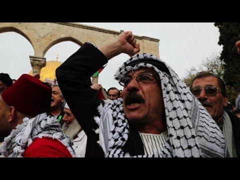 Palestinians protest at Jerusalem's Al Aqsa Mosque compound