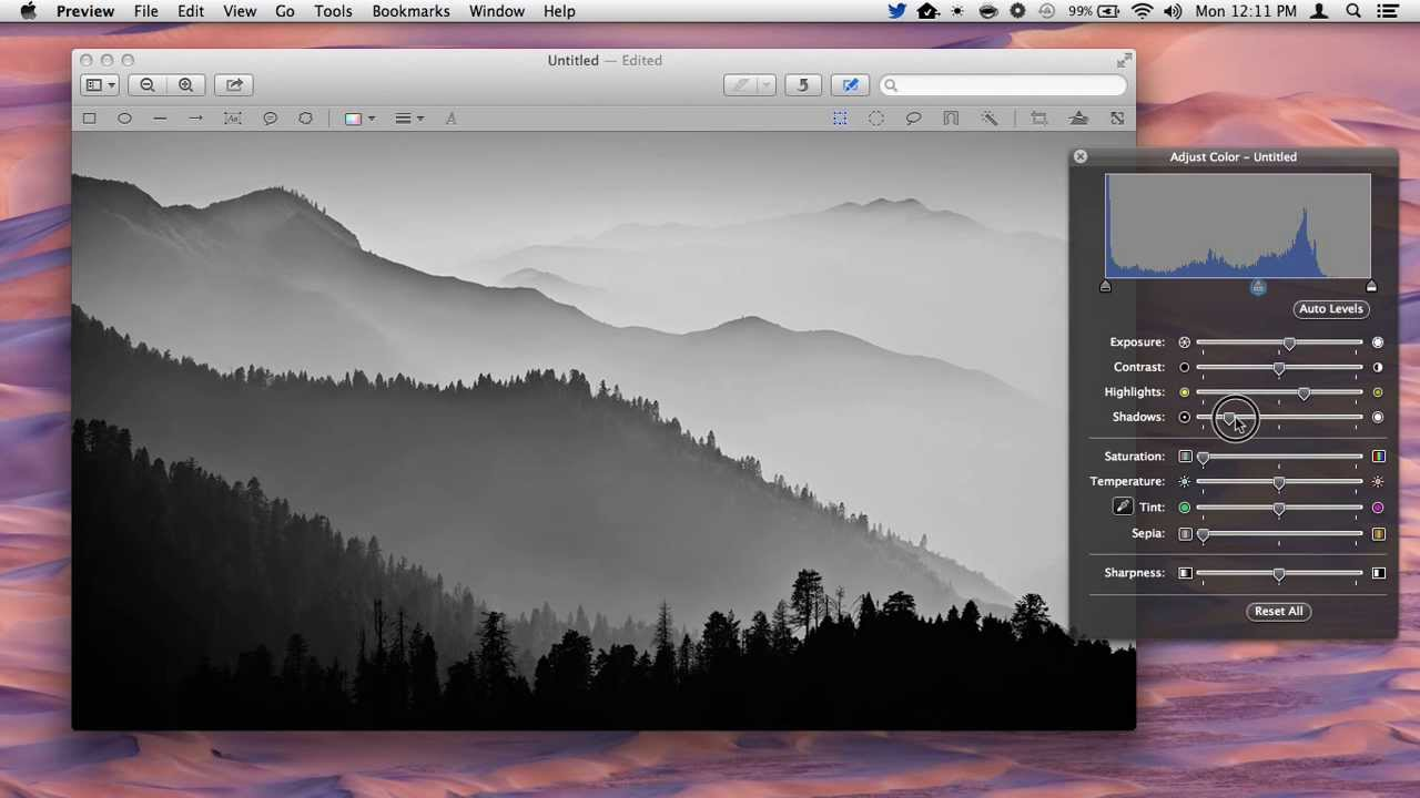 Convert an image into black white with preview in mac os x