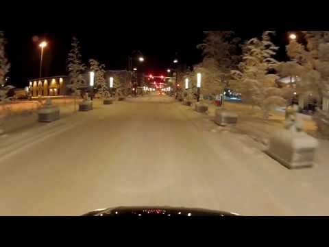 Fairbanks Alaska Downtown Drive Go Pro Car Dash Cam at night December 17, 2016