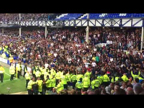 Hajduk fans throwing chairs at Everton fans in Goodison Park.