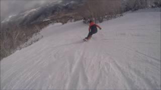 【追い撮り】焼額山Free Run!!/スノーボードクロスコース2年生女子 スノーボード・スキーの学校JWSC動画:1193