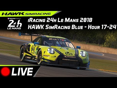 iRacing 24h Le Mans 2018 | Team Blue | Porsche 911 RSR | Split 6 | Hour 20-24 | LIVE