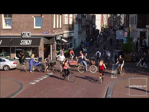 Unbelievably busy bicycle crossing in Amsterdam