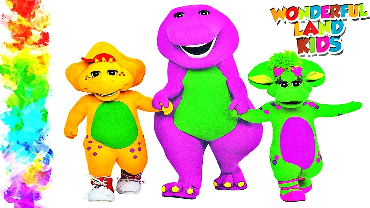 Barney and Friends / Learning Colors with watercolor for Preschool ...
