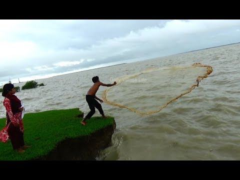 Cast Net Fishing at sea with beautiful natural | Sea Fishing by #Daily Village Life (Part-05)