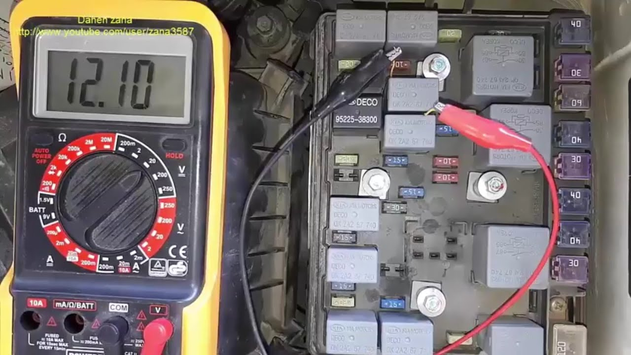 Fuel pump test fuse test relay test Kia sportage video37