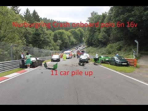 Nurburgring crash onboard polo 6n 16v 13.08.17 11 car pile up foxhole