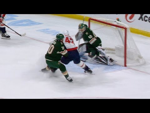 Tom Wilson crashes the net for first of the season