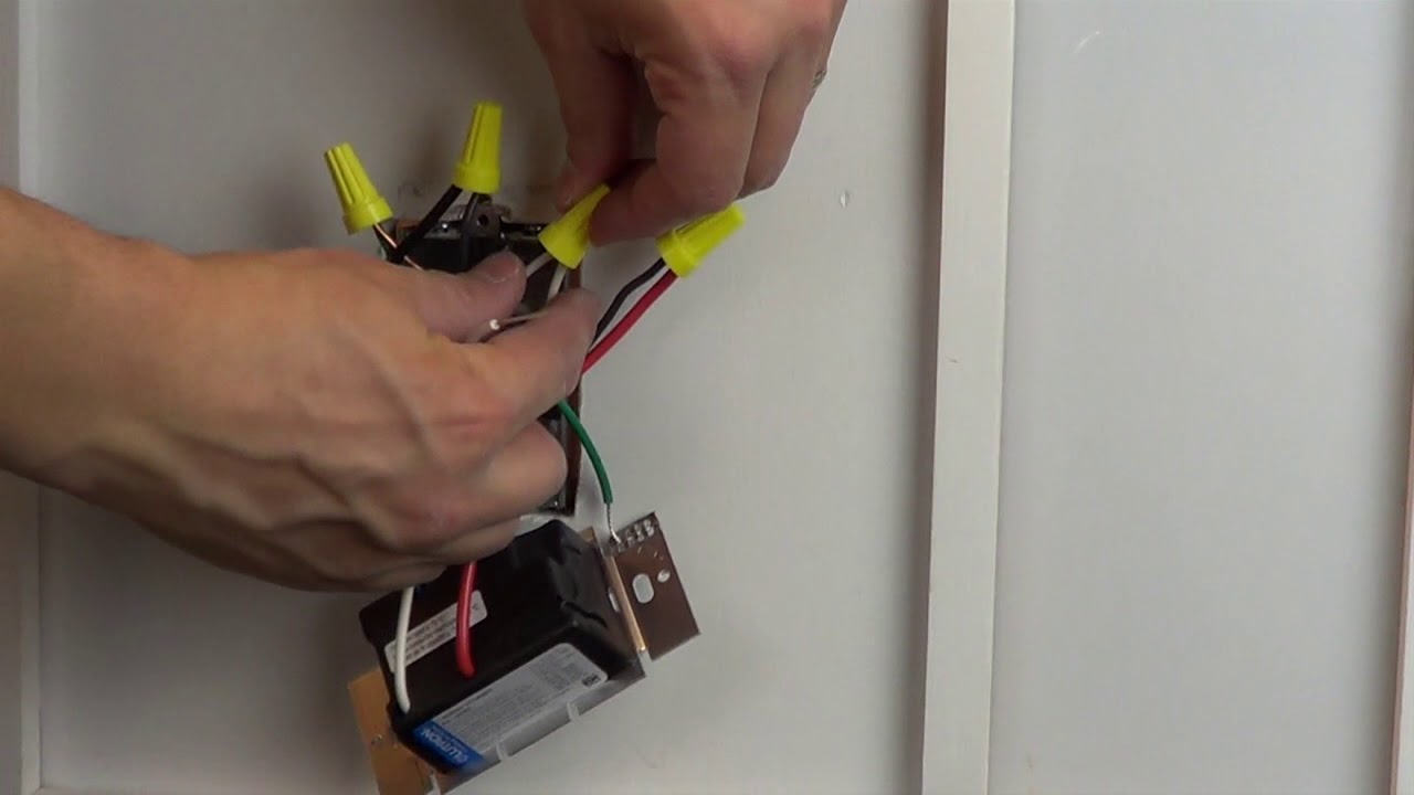 wiring a control with one black one red one blue one white wire single pole application  [ 1280 x 720 Pixel ]