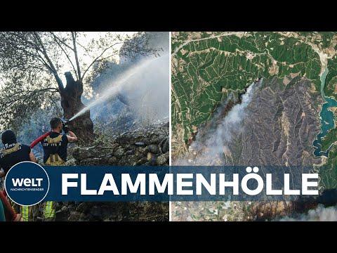 WALDBRÄNDE in SÜDEUROPA toben weiter: Flammen erfassen Kraftwerk und bedrohen antike Sportstätten