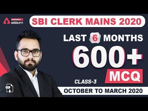 Last 6 Months Current Affairs 2020   Best 600+ Current Affairs MCQ For SBI Clerk 2020 (Class-3)