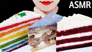 ASMR CAKE (RED VELVET CHOCOLATE RAINBOW) DESSERTS 케이크 (레드벨벳 …