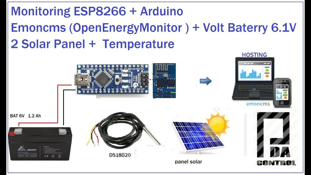 Monitoring Esp8266 Arduino Emoncms Volt Batt 6 1v