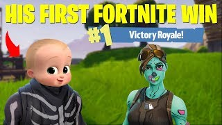 HELPING LITTLE KID GET HIS FIRST FORTNITE WIN (Battle Royale)
